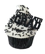 12 Black Congrats Grad Graduation Cake Cupcake Toppers Picks Party Decor... - €3,47 EUR