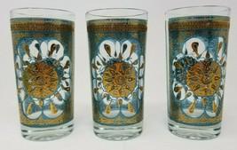 Set of 3 Mid Century Vintage Bar Glasses Blue Sunburst Textured 1960s Retro - $25.73