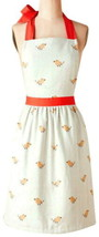Anthropologie Yellow Birds Apron Orange Trim 2 Pockets Soft Cotton Mom G... - $47.64