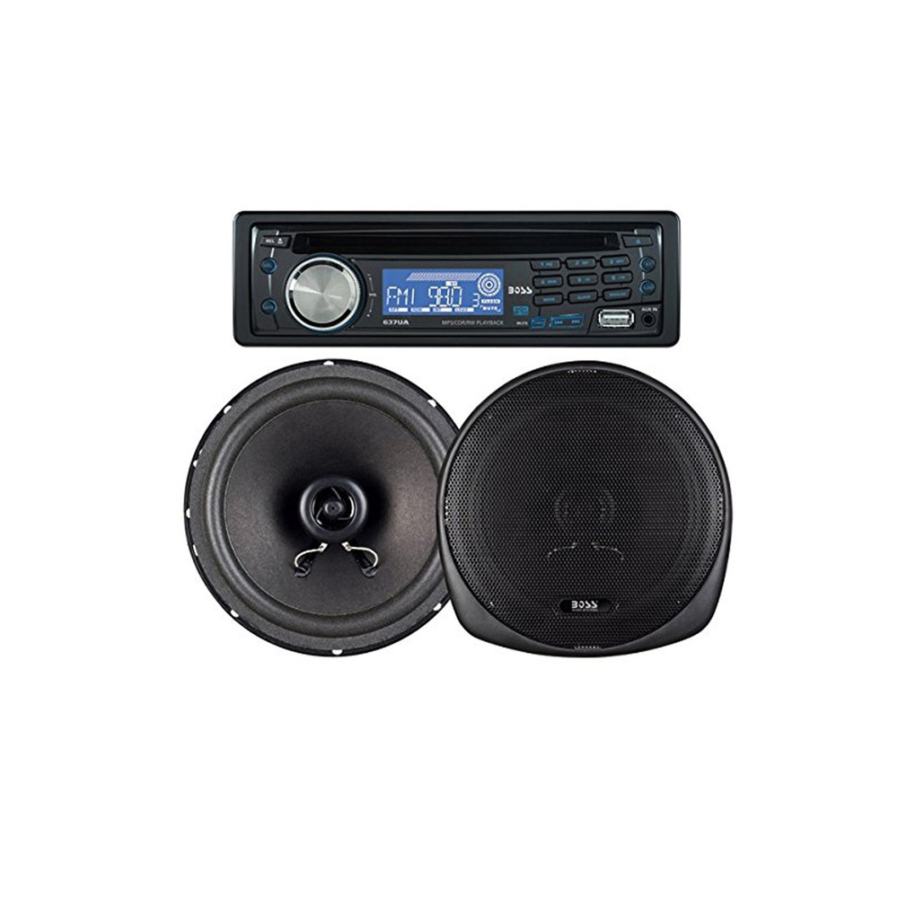 Boss Audio In-Dash Car Stereo CD AM/FM MP3 Receiver and 6.5 2-Way Speaker Packag