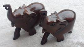 set of 2 pc wooden elephant figurine trunk up, home decor, showpiece, go... - $44.38
