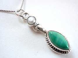 Freshwater Pearl and Malachite Marquise Necklace 925 Sterling Silver New - $18.49