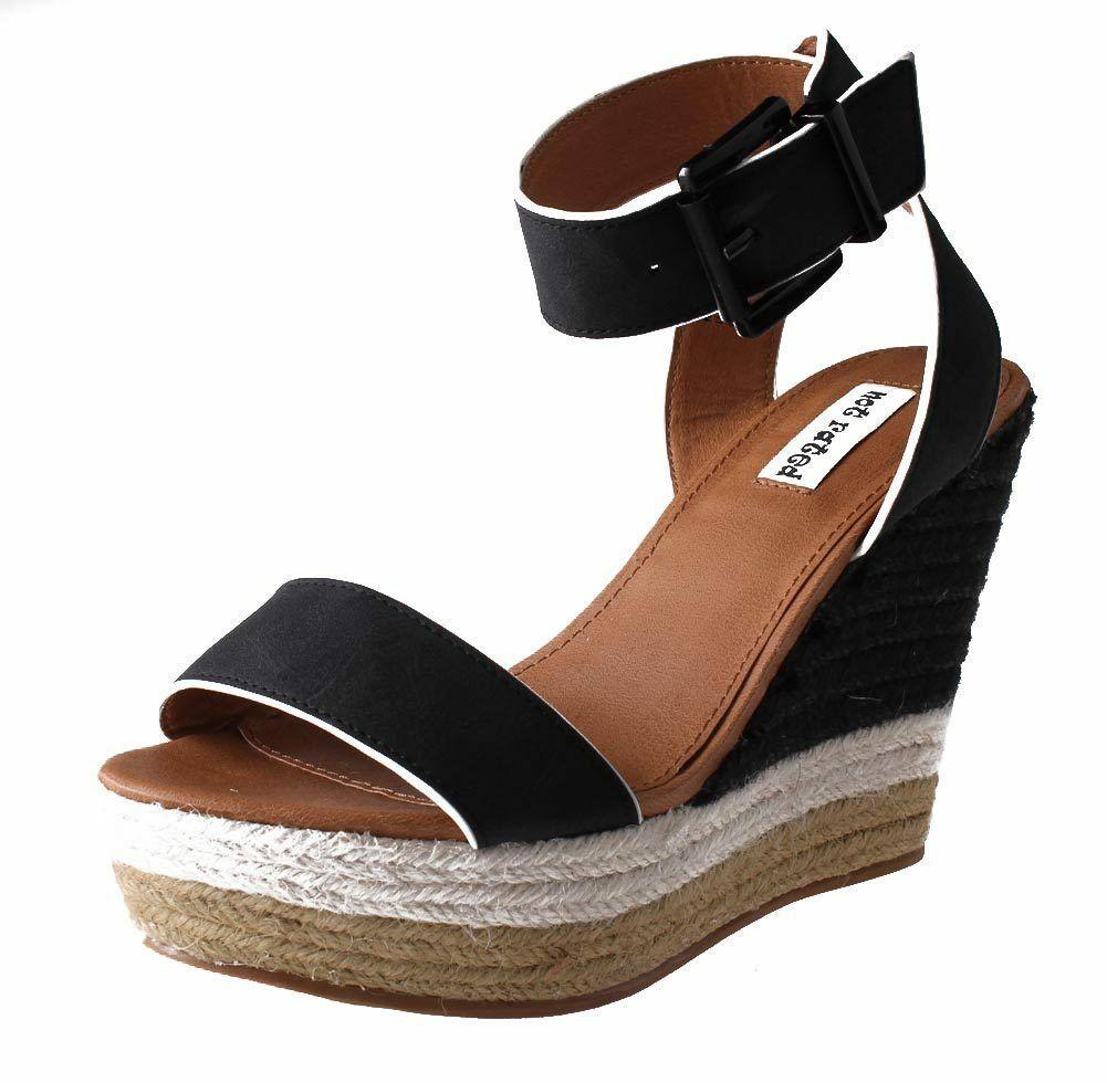 Not Rated Women's Black White Sand Summer Platform Wedge Sandals NIB