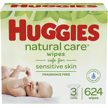 HUGGIES Natural Care Unscented Baby Wipes, Sensitive, 3 Refill Packs 624... - $17.39