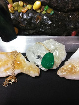 Necklace ,Natural Healing Stone Druzy Quartz Green, Gold tone  - $4.95