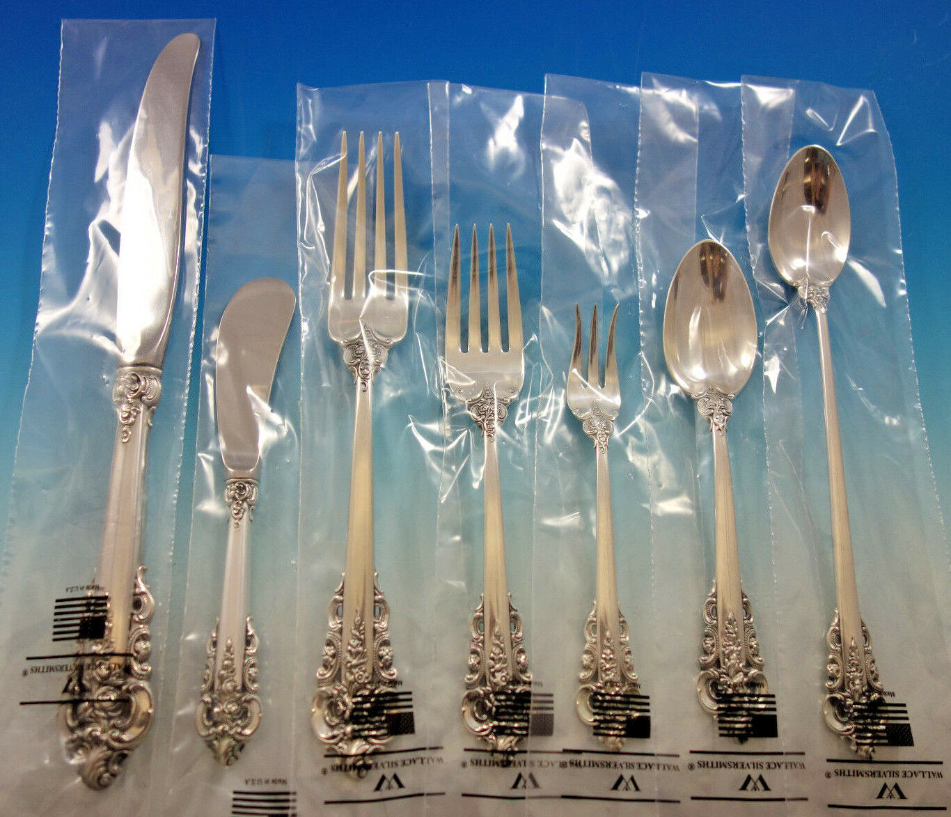 Primary image for Grande Baroque by Wallace Sterling Silver Flatware Set Service 70 pc Dinner New