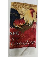 3 pc KITCHEN COTTON PRINTED VELOUR TOWELS SET, RED CAFE ROOSTER by BH - $13.85
