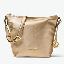 New Michael Kors Bedford Medium Messenger Pale Gold Metallic Leather - $137.99