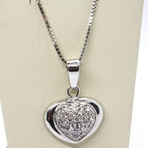 18K WHITE GOLD NECKLACE WITH DIAMONDS ROUNDED HEART PENDANT, VENETIAN CHAIN - $1,320.50
