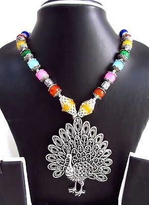 Indian Bollywood Oxidized Figure Pendant Pearls Necklace Women's Fashion Jewelry