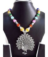 Indian Bollywood Oxidized Figure Pendant Pearls Necklace Women's Fashion... - $13.27