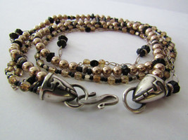 """Sterling Silver Clasp 3 Strand Chain Champagne Taupe Black Glass 19"""" Nec... - $68.30"""