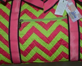 Rosen Blue  CC703 Fuchsia Lime Chevron Pattern Duffle Bag image 2
