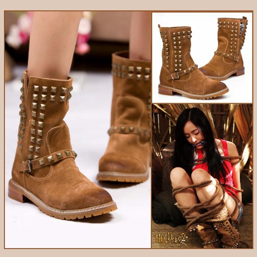 Straps and Stud Rivets Genuine Cowhide Suede Leather Vintage Adventure Boots