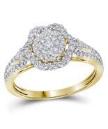 14kt Yellow Gold Round Diamond Cluster Bridal Wedding Engagement Ring 5/... - £869.39 GBP