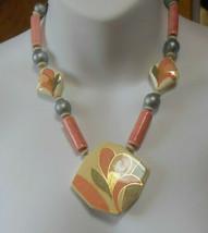 Vintage Signed Japan Floral Ceramic Tensha Necklace  - $44.55
