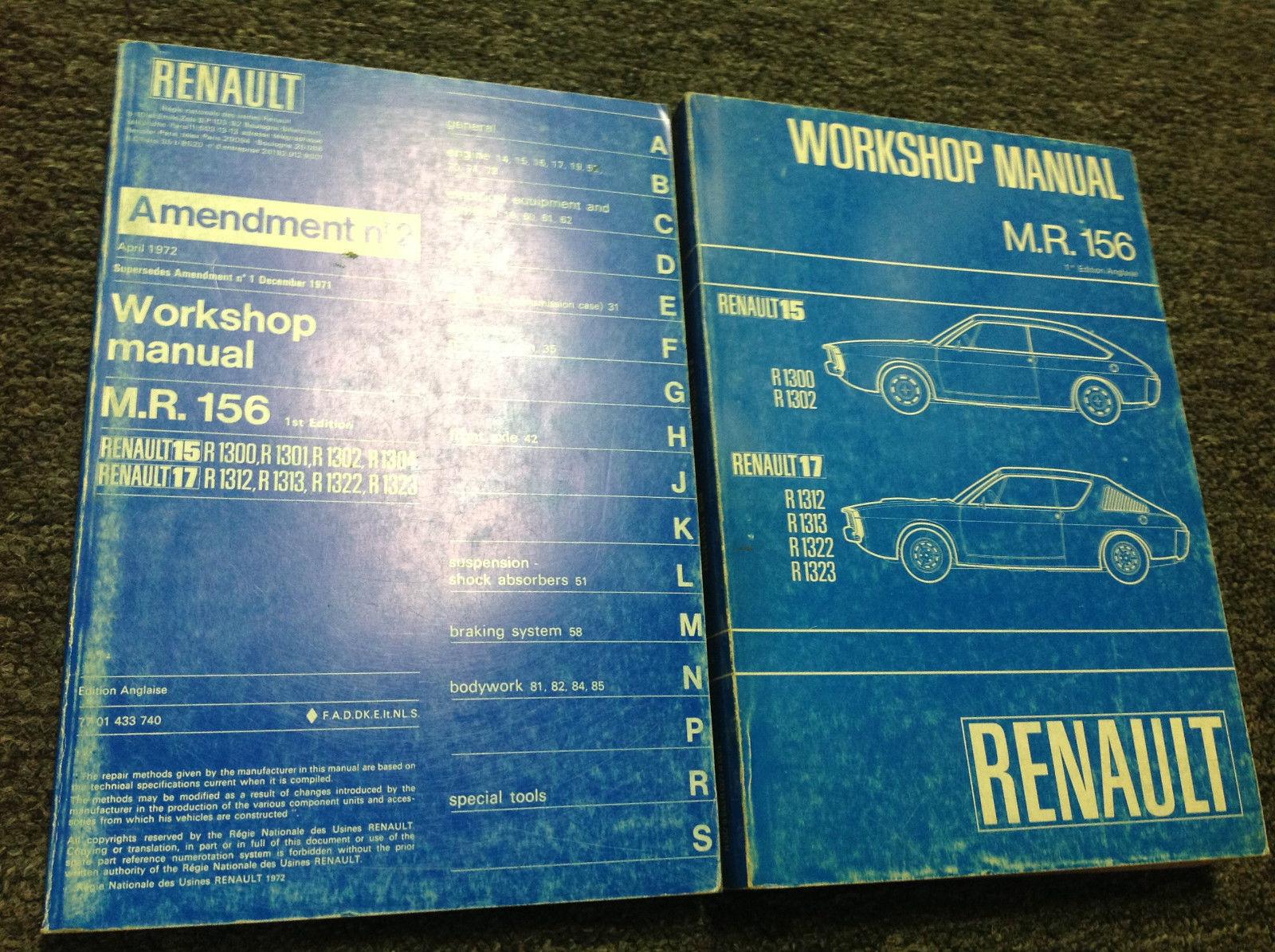 1971 1972 1973 Renault 15 17 MR 156 Service Shop Repair Workshop Manual SET