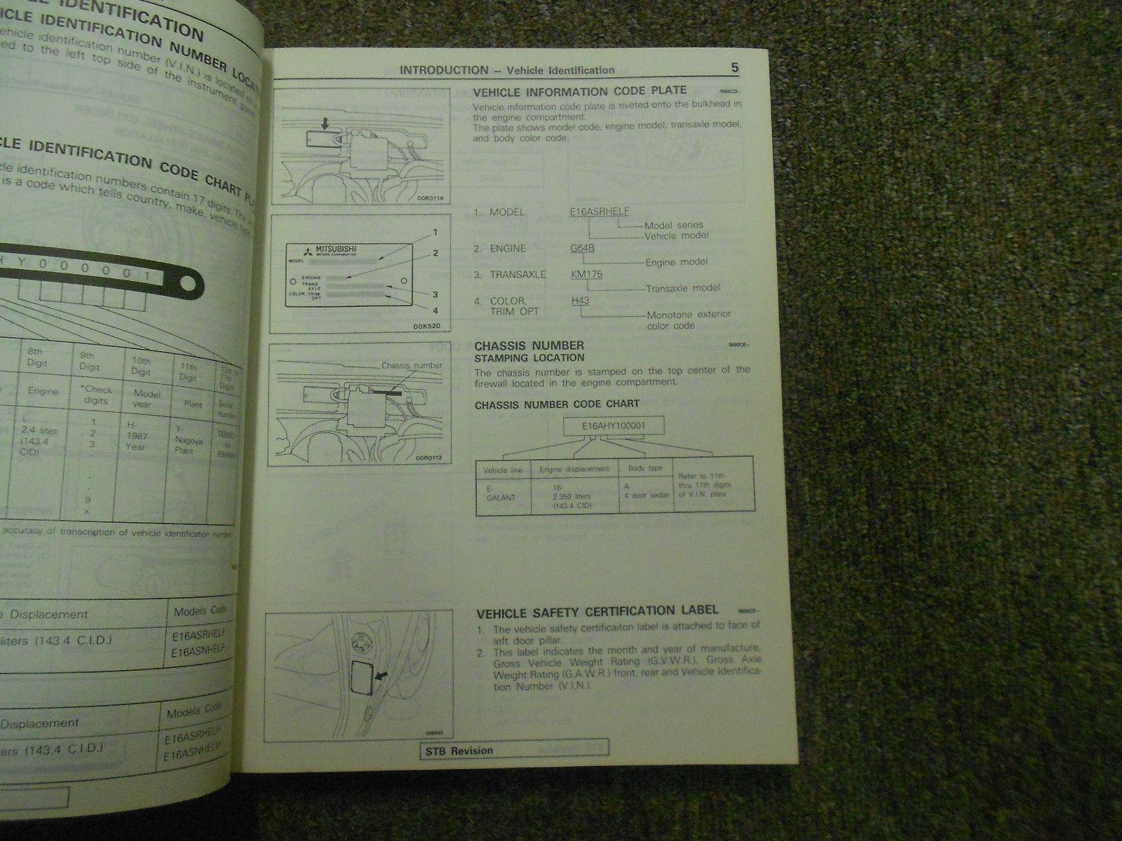 1987 mitsubishi galant service repair shop and 50 similar items rh bonanza com Mitsubishi Galant Manual Transmission Interior 2011 Mitsubishi Galant Service Manual