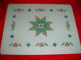 """Corelle Quilt Counter Saver Glass Cutting Board 12""""x15"""" Used Rare Free Usa Ship - $37.39"""