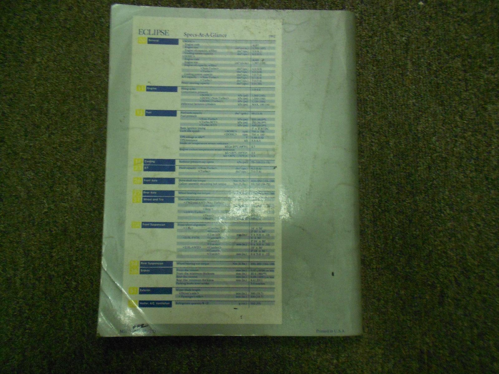 1992 MITSUBISHI Eclipse Service Repair Shop Manual VOL 2 Electrical OEM BOOK 92