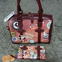 Disney Mickey Mouse Donald Vintage Boston Bag & Wallet Set hand Brown le... - $161.37