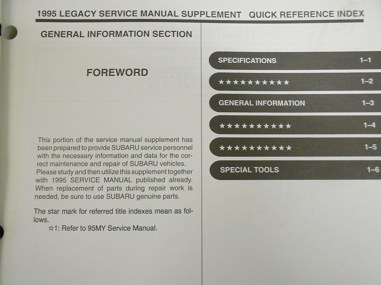 ... 1995 Subaru Legacy Service Repair Shop Manual SET FACTORY OEM BOOKS 95  ...