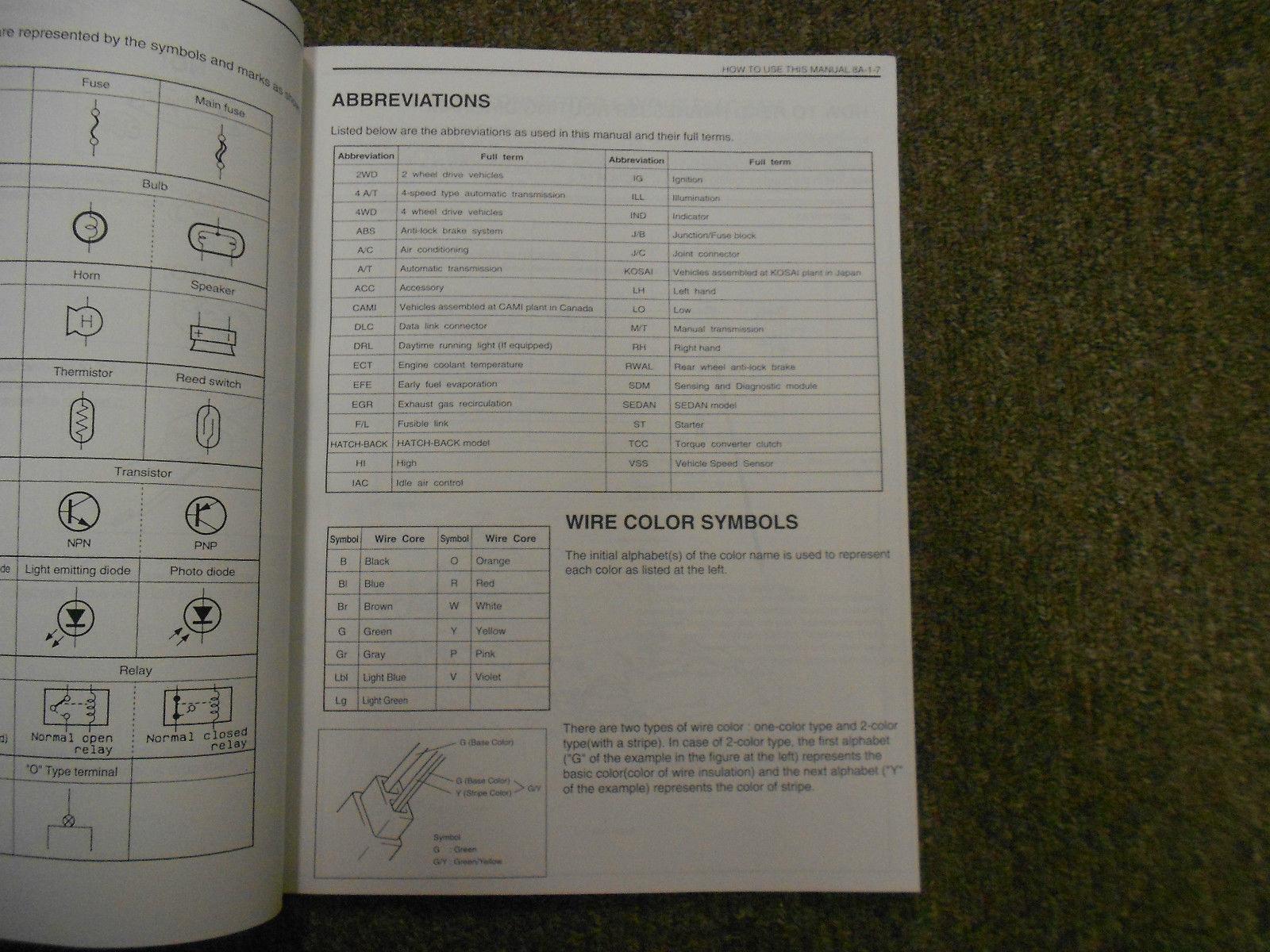 1995 Suzuki Esteem Wiring Diagram Shop Manual FACTORY OEM BOOK 95 2ND ED U.S VOL image 6