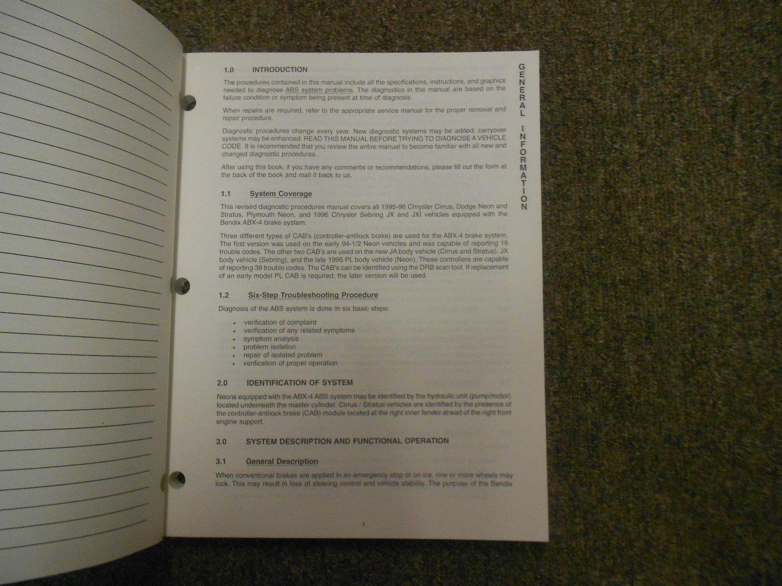 ... 1996 DODGE PLYMOUTH NEON Service Repair Shop Manual OEM 96 DEALERSHIP  BOOK SET ...