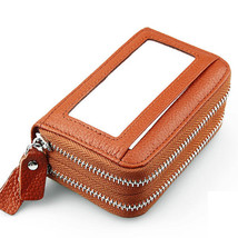 Genuine Leather RFID Double Zipper 11 Card Holder Anti Theft Coin Bags Short Pur