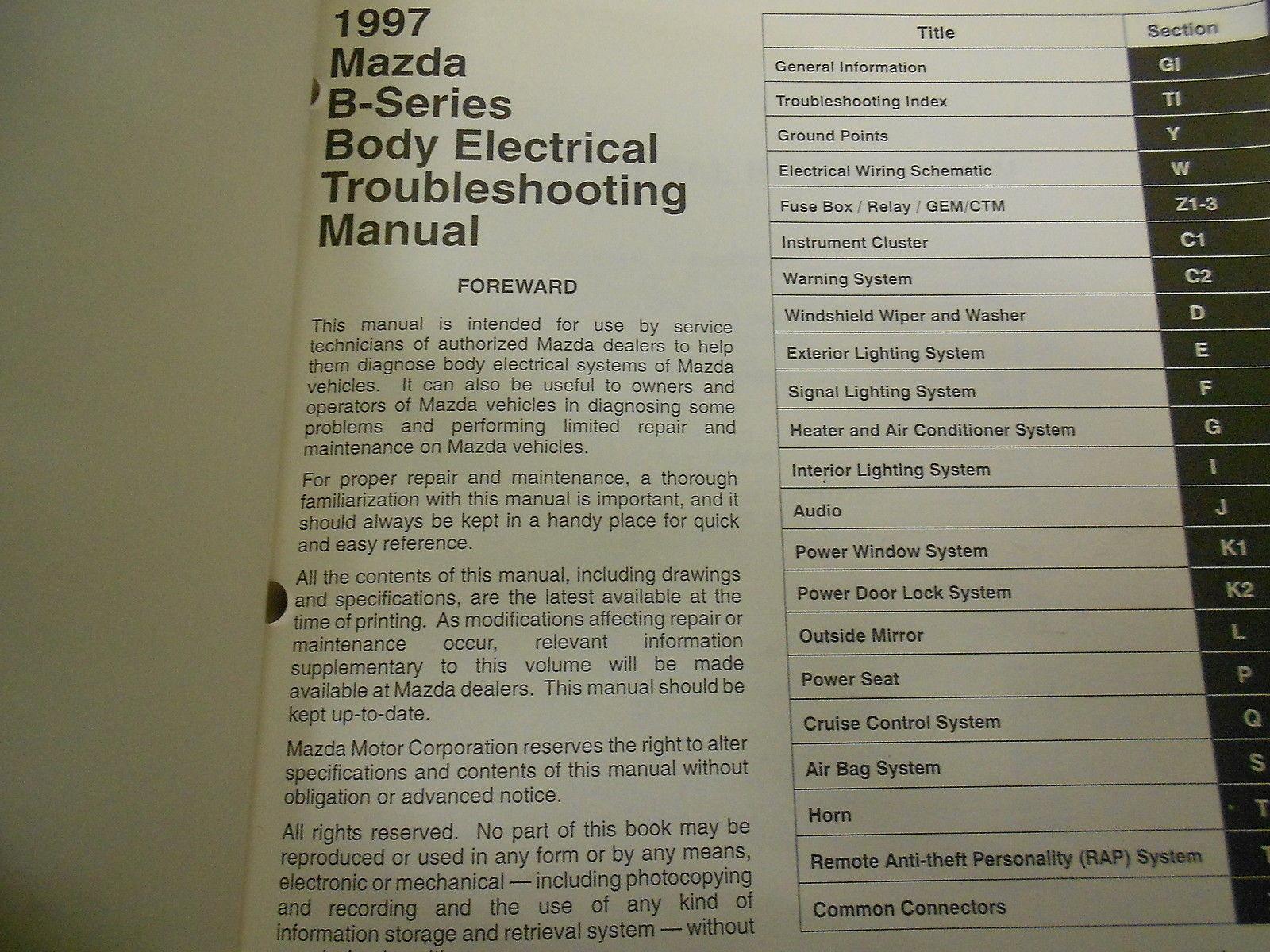 1997 Mazda B Series Truck B2300 3000 4000 And 50 Similar Items Wiring Diagram Service Repair Shop Manual Set Books X