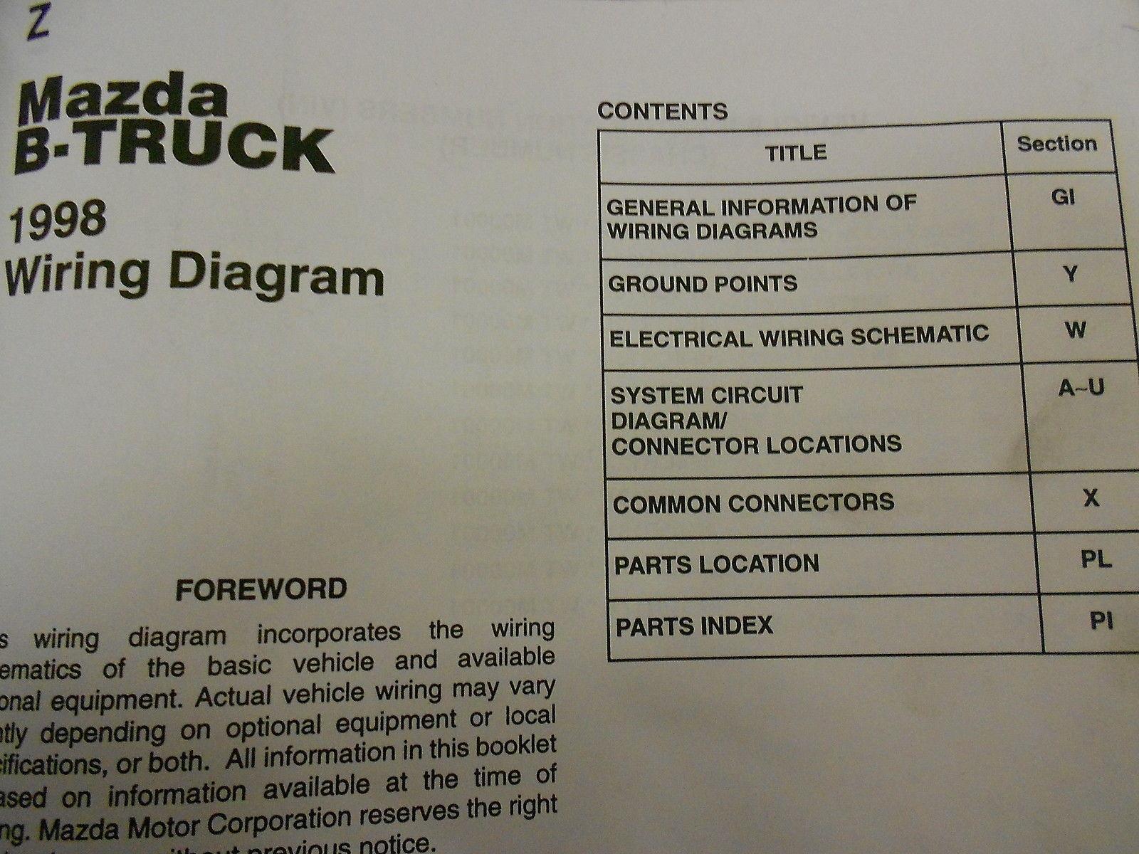 ... 1998 Mazda B-Series Truck Electrical Wiring Diagram Service Repair Shop  Manual ...