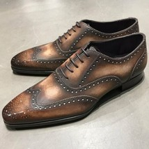 Men's Two Tone Brown Brogue Oxford Wing Tip Formal Dress Lace Up Leather... - $139.99+