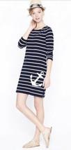 J Crew Size Large Nautical Maritime Anchor LS Zip Sides Dress Blue Strip... - $32.30