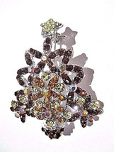 PRETTY RHINESTONE CHRISTMAS TREE PIN BROWN AMBER COLOR AB HOLIDAY - $22.00