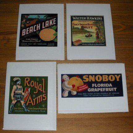 Set 8 Note Cards Vintage Florida Fruit Crate Label Designs 8