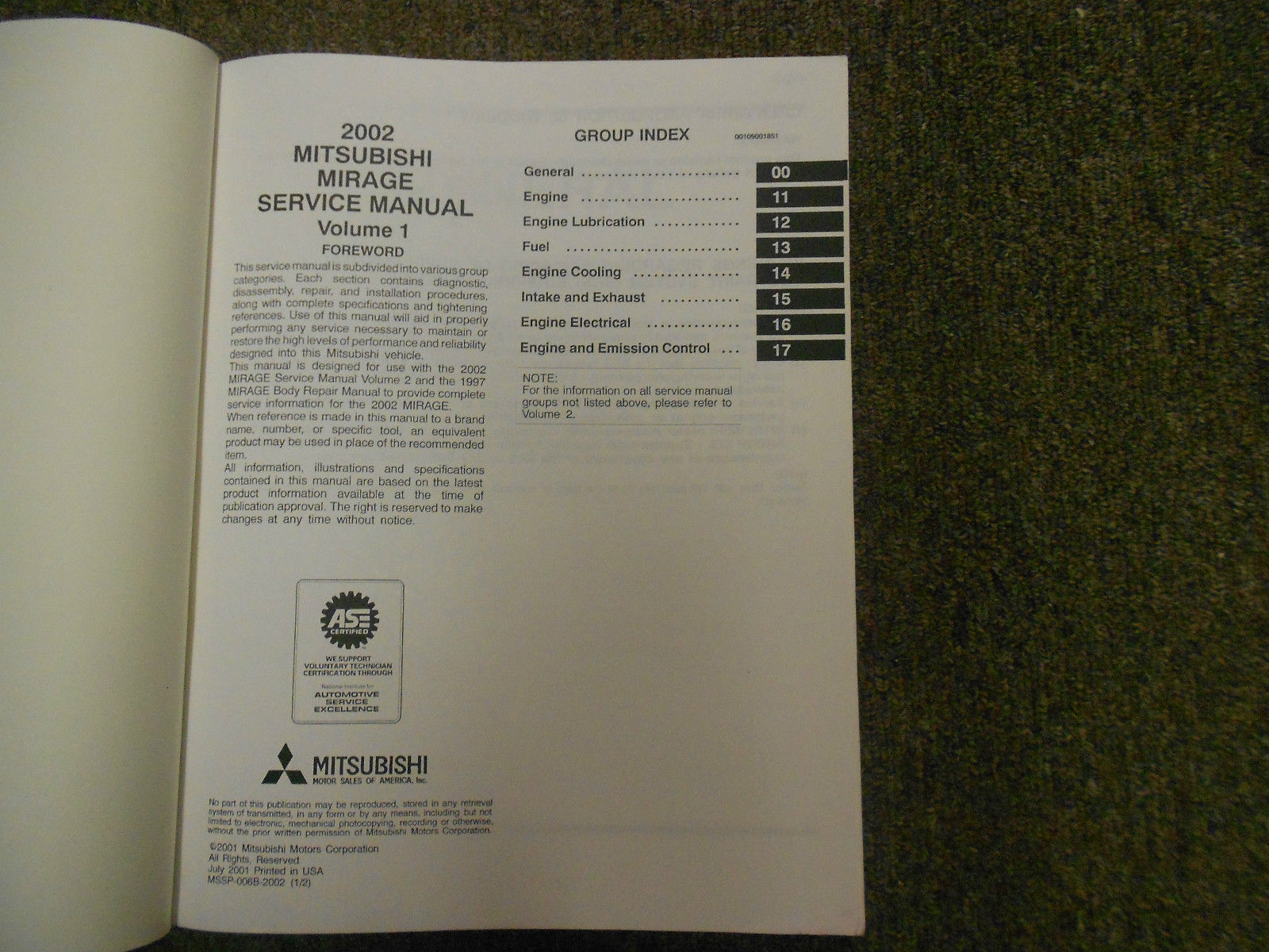2002 MITSUBISHI Mirage Service Repair Shop Manual VOL 1 FACTORY OEM BOOK 02