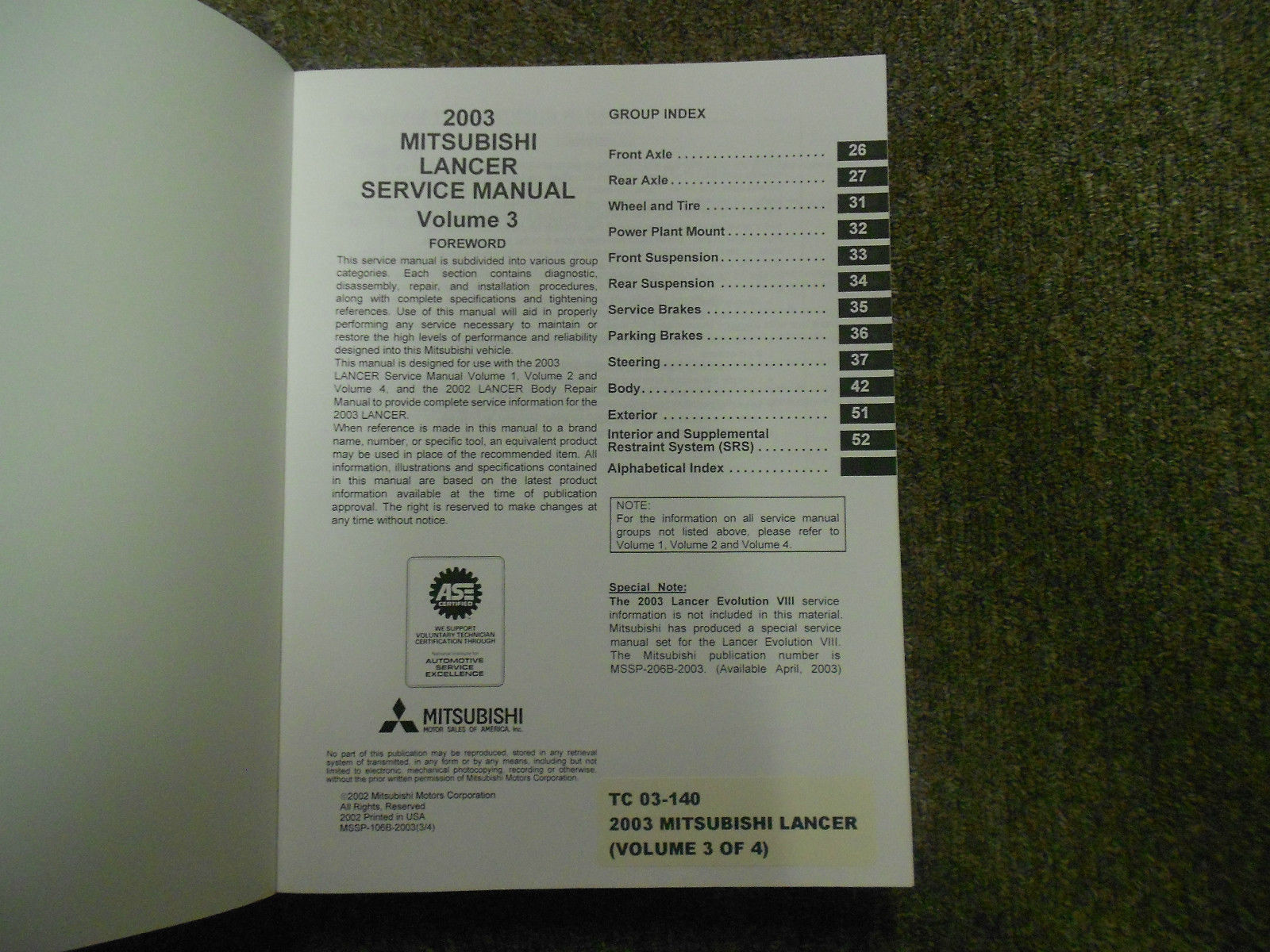 2003 MITSUBISHI Lancer Service Repair Shop Manual FACTORY OEM 4 VOL SET BOOK x image 7