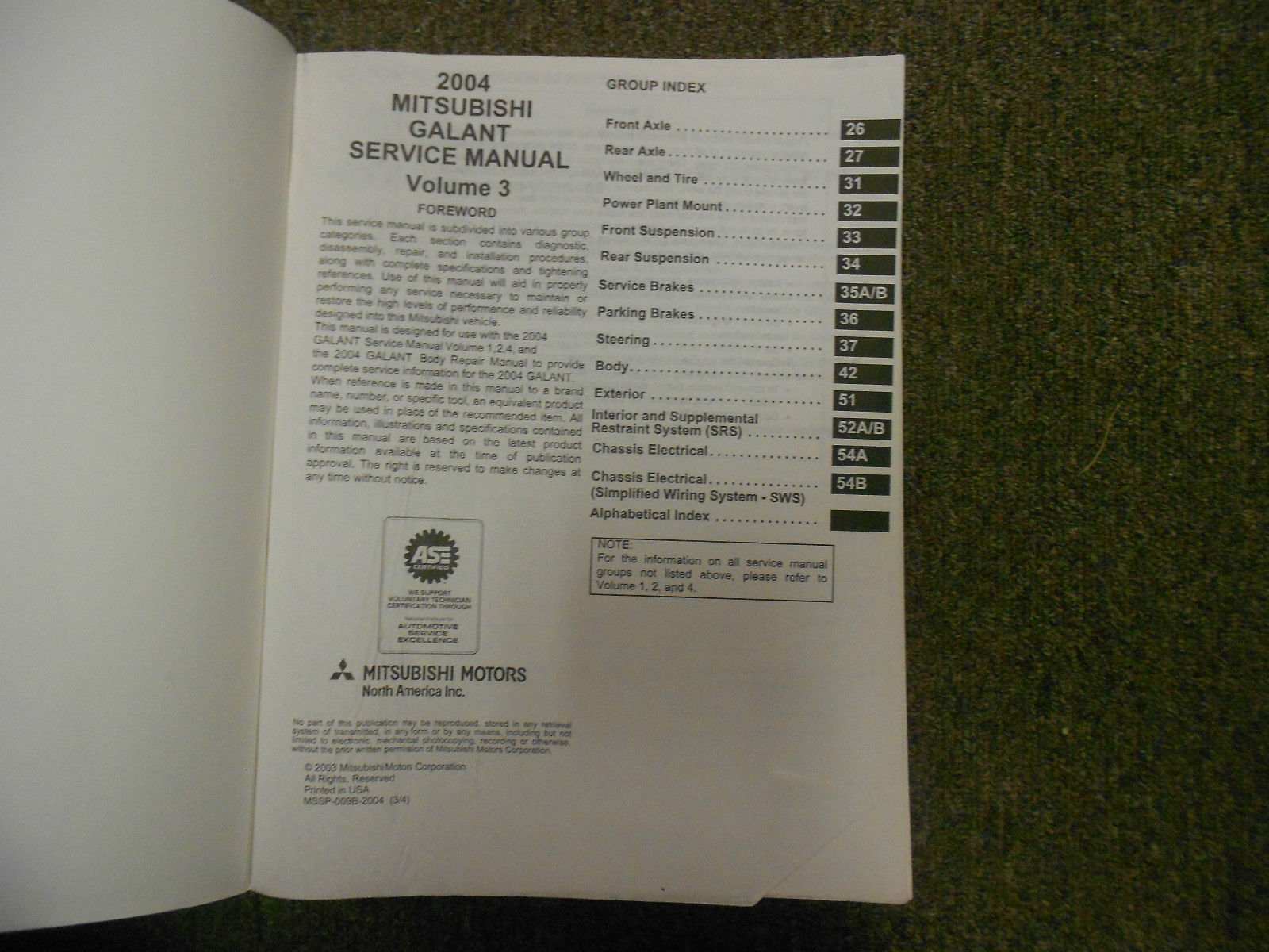 2004 MITSUBISHI Galant Service Repair Shop Manual VOL 3 OEM 04 FACTORY OEM 04 image 2