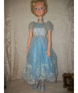 DISNEY CINDERELLA DOLL TALKS AND IS 39 INCH TALL BLUE SILK DRESS/SHOES - $39.59