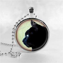 BLACK CAT Necklace, Black Cat Pendant, Cat Jewelry, Cat Charm, Glass Pho... - $9.95