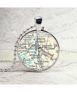 Fargo North Dakota Map Necklace Art Pendant Jewelry with Ball Chain, Moo... - $9.95