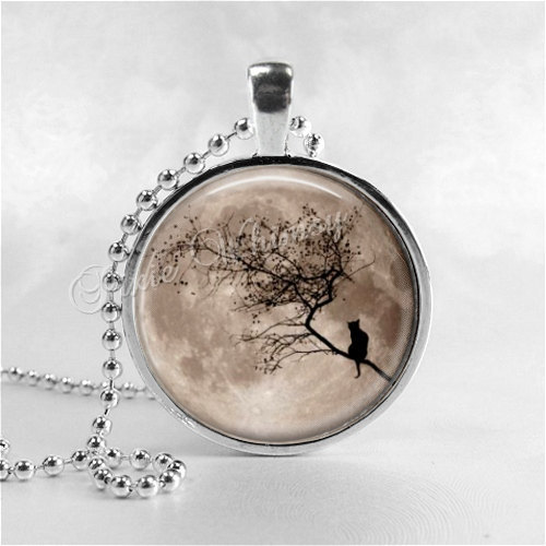 FULL MOON Necklace, Harvest Moon, Black Cat Necklace, Glass Photo Art Pendant, S