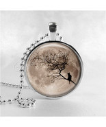 FULL MOON Necklace, Harvest Moon, Black Cat Necklace, Glass Photo Art Pe... - $12.85 CAD
