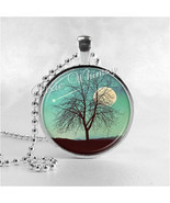 MOON Necklace, Shooting Star, Full Moon, Tree of Life Round Glass Bezel ... - $9.95