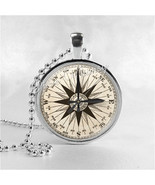 COMPASS Necklace Art Pendant Jewelry with Ball Chain, Marine Compass, Ma... - $9.95