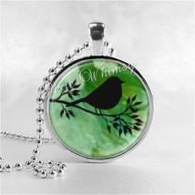 BIRD Necklace, Bird Pendant, Bird Jewelry, Bird On Branch, Bird Charm, T... - $9.95