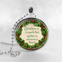 CHRISTMAS QUOTE Necklace, Christmas Necklace, Book Pendant Jewelry, Lite... - $9.95