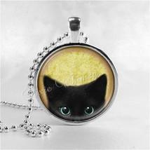 BLACK CAT Necklace, Cat Pendant, Cat Jewelry, Cat Charm, Glass Photo Art... - $9.95