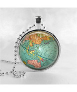 VINTAGE GLOBE Necklace, Vintage Globe Pendant, Vintage World Map, Planet... - $9.95