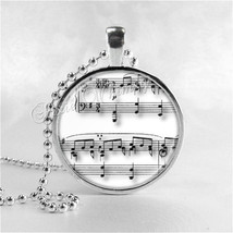 MUSIC Necklace, Musical Note, Sheet Music, Music Pendant, Music Jewelry, Music C - $9.95